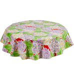 Freckled Sage Round Oilcloth Tablecloth Hydrangea Red