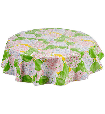 Freckled Sage Round Oilcloth Tablecloth Hydrangea Yellow