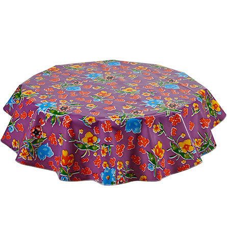 Freckled Sage Round Oilcloth Tablecloth Istanbul Purple