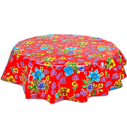 Freckled Sage Round Oilcloth Tablecloth Istanbul Red