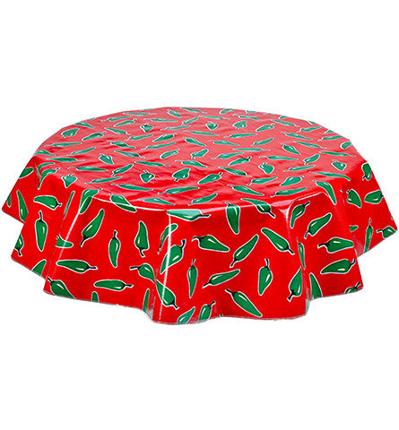 Freckled Sage Round Oilcloth Tablecloth Jalapeno on Red
