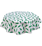 Freckled Sage Round Oilcloth Tablecloth Jalapeno