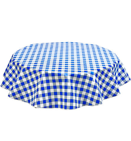 Freckled Sage Round Oilcloth Tablecloth Large Gingham Blue