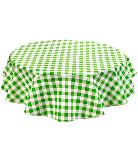 Freckled Sage Round Oilcloth Tablecloth Large Gingham Lime