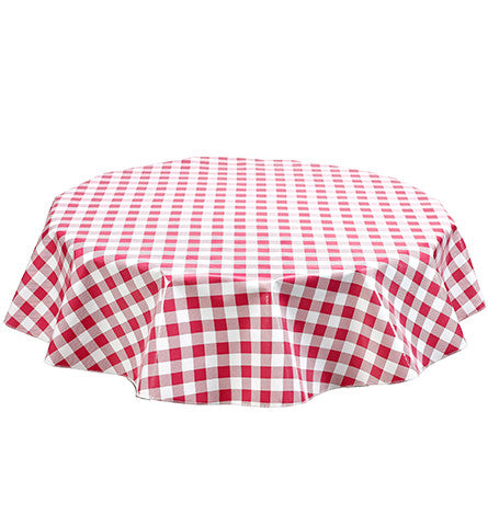 Freckled Sage Round Oilcloth Tablecloth Large Gingham Pink