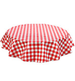 Freckled Sage Round Oilcloth Tablecloth Large Gingham Red