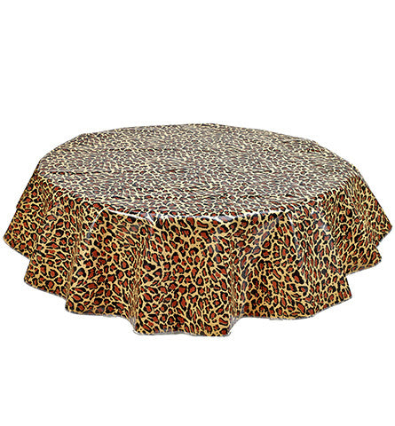 Round Oilcloth Tablecloth in Leopard
