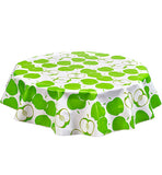 Freckled Sage Round Oilcloth Tablecloth Mod Apple Green
