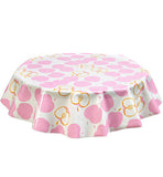 Freckled Sage Round Oilcloth Tablecloth Mod Apple Pink
