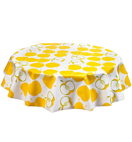 Round Oilcloth Tablecloths in Mod Apple Yellow