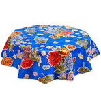 Freckled Sage Round Oilcloth Tablecloth Mum Blue