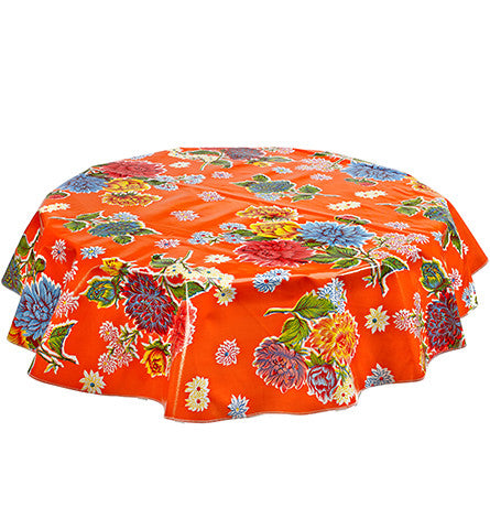 Freckled Sage Round Oilcloth Tablecloth Mum Orange