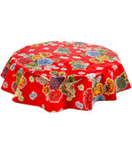 Round Oilcloth Tablecloth in Mum Red