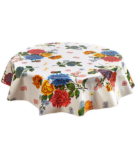 Freckled Sage Round Oilcloth Tablecloth Mum White