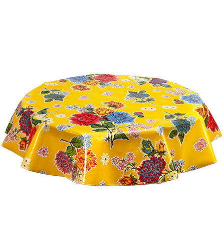 "Slightly Imperfect 68"" Round Oilcloth Tablecloth in Mum Yellow"
