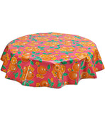 Freckled Sage Round Oilcloth Tablecloth Oranges Pink