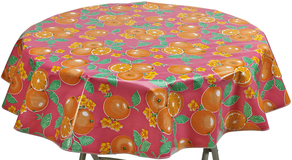 Round Oilcloth Tablecloth in Oranges Pink