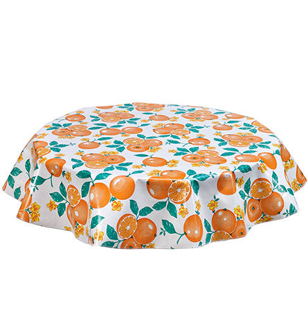 Round Oilcloth Tablecloth in Oranges on White