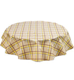 "Slightly Imperfect 63"" Round Plaid Yellow and Tan Oilcloth Tablecloth"
