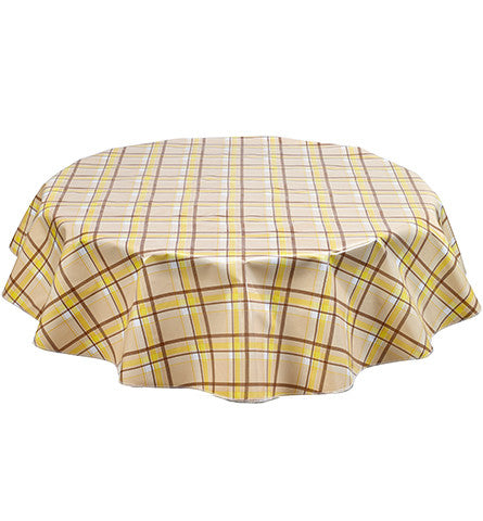 Slightly Imperfect Round Plaid Yellow and Tan Oilcloth Tablecloth