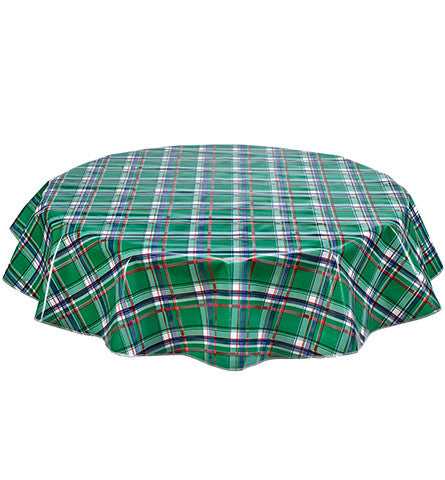 Round Plaid Green Oilcloth Tablecloth