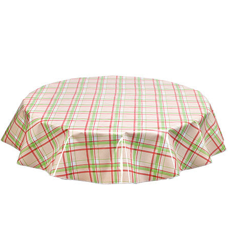 Round Plaid Pink and Lime Oilcloth Tablecloth