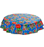 Freckled Sage Round Oilcloth Tablecloth Poppy Blue