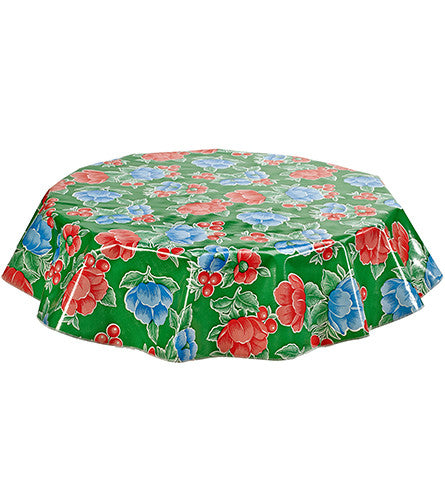 Freckled Sage Round Oilcloth Tablecloth Poppy Green