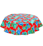 Freckled Sage Round Oilcloth Tablecloth Poppy Red