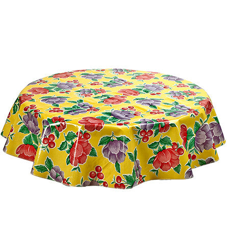 Freckled Sage Round Oilcloth Tablecloth Poppy Yellow