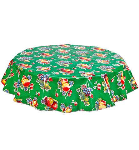 Freckled Sage Round Oilcloth Tablecloth Retro Green
