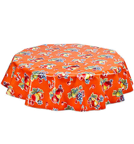Freckled Sage Round Oilcloth Tablecloth Retro Orange