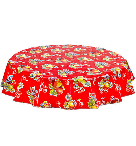 Freckled Sage Round Oilcloth Tablecloth Retro Red