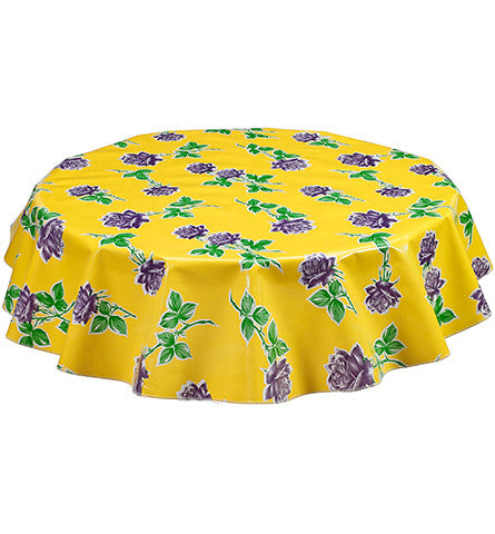 Round Vintage Rose Yellow Oilcloth Tablecloths