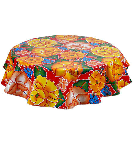 Round Sage's Garden Red Oilcloth Tablecloths