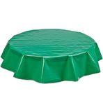 Freckled Sage Round Oilcloth Tablecloth Solid Kelly Green