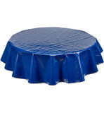 Freckled Sage Round Oilcloth Tablecloth Solid Navy Blue