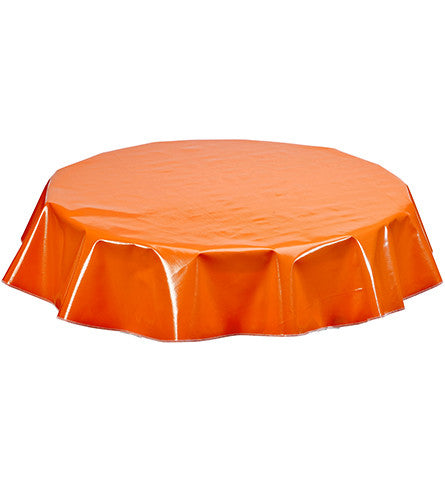 Freckled Sage Round Oilcloth Tablecloth Solid Orange