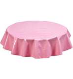 Round Oilcloth Tablecloth in Solid Pink