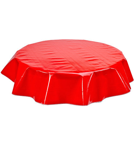 Freckled Sage Round Oilcloth Tablecloth Solid Red