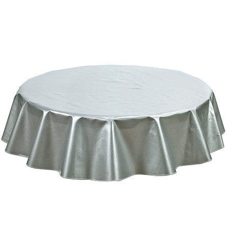 Freckled Sage Round Oilcloth Tablecloth Solid Silver