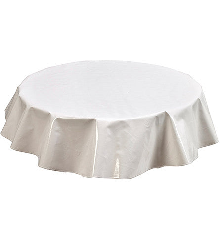Freckled Sage Round Oilcloth Tablecloth Solid White