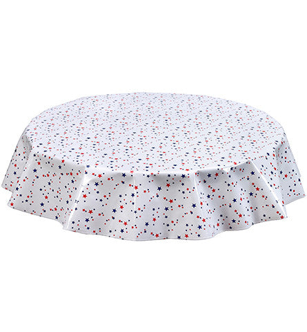 Freckled Sage Round Oilcloth Tablecloth Red and Blue Stars