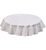 Freckled Sage Round Oilcloth Tablecloth Red and Yellow Stars