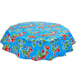 Freckled Sage Round Oilcloth Tablecloth Strawberry Light Blue