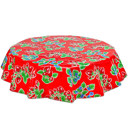 Freckled Sage Round Oilcloth Tablecloth Strawberry Red