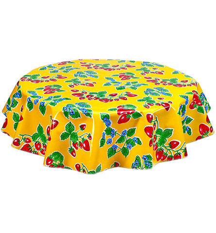 Freckled Sage Round Oilcloth Tablecloth Strawberry Yellow