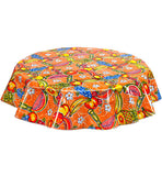 Round Oilcloth Tablecloth in Sugarcane Orange
