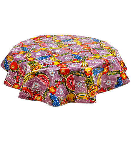 Round Oilcloth Tablecloth in Sugarcane Purple