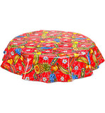 Round Oilcloth Tablecloth in Sugarcane Red